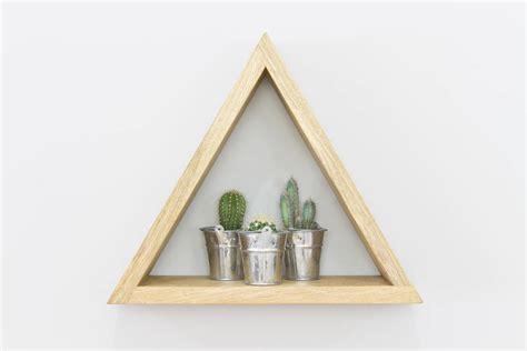 triangle wall shelf triangle geometric shelves set of three wall shelves by