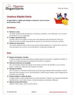 Home Organizer Cotidiana by Orden En Casa Plan B 225 Sico Para La Limpieza Diaria R 225 Pida