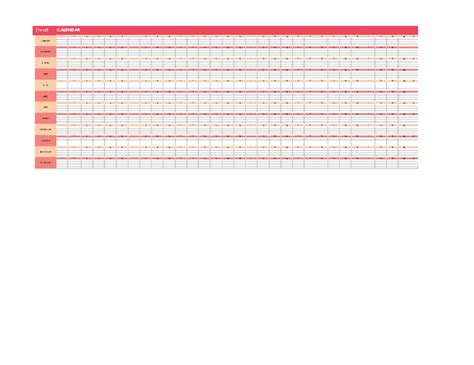 calendar any year horizontal office templates