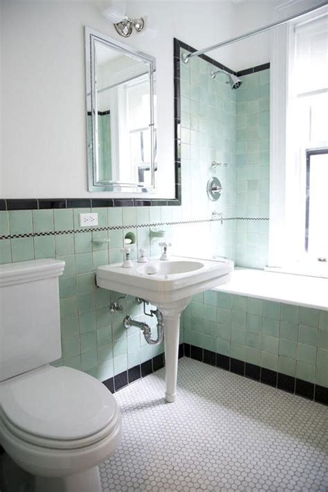 retro green bathroom 35 vintage black and white bathroom tile ideas and pictures