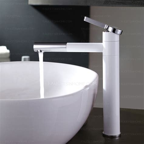White Bathroom Sink Faucets by Simple White Painting Copper Bathroom Sink Faucet Rotatable