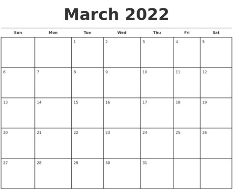 template for calendar month march 2022 monthly calendar template