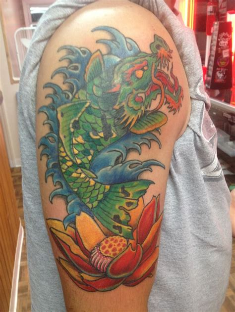 tattoo cover up knoxville dragon koi lotus tattoo station one color tattoos