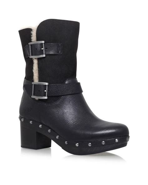 high heel biker boots ugg high heel biker boots in black save 65 lyst
