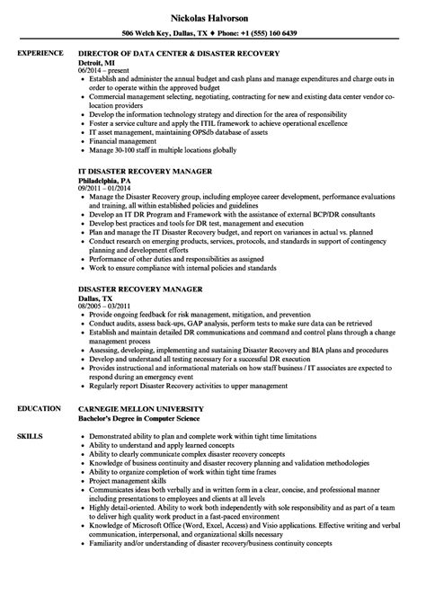 Disaster Recovery Analyst Sle Resume by Disaster Recovery Resume Sles Velvet
