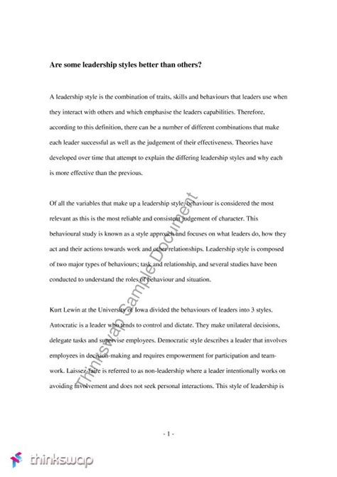 Exles Of Leadership Essays For Mba by Mgmt Essay Leadership Styles Mgmt1001 Managing