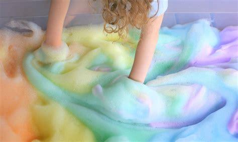 rainbow soap foam bubbles sensory play
