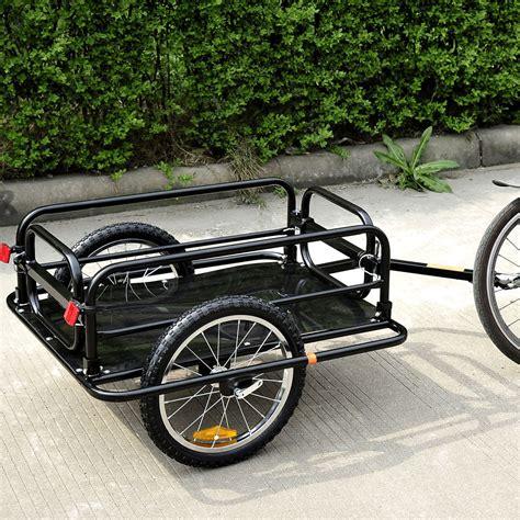 bicycle trailer aosom steel frame bicycle bike cargo trailer luggage cart carrier 110lb hauler ebay