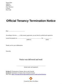 Landlord Termination Of Lease Agreement Letter Sle Landlord Notice To End Tenancy Letter Alberta Docoments Ojazlink