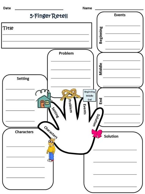 printable homework graphic organizer my 5 finger retell worksheet 2nd grade reading grade 1