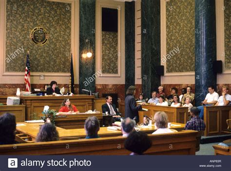 corta cespe jury seated in a courtroom in portland oregon stock photo