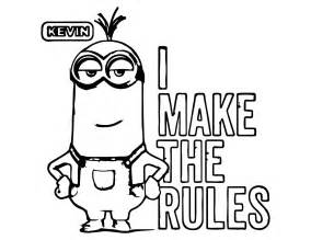 minion rules kevin coloring wecoloringpage