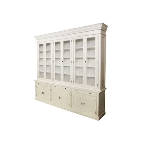 Bookcase With Glass Doors White European Design Provincial Three Bay Bookcase With Glass Doors In White Matt Finish