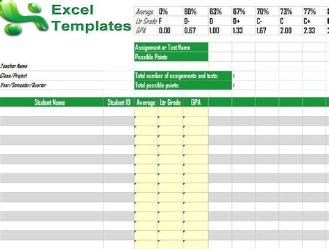 Gradebook Template Excel Gradebook Template What Is A Template In Excel