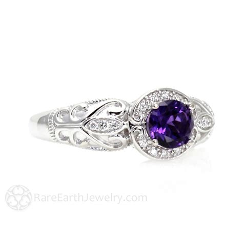 vintage amethyst ring amethyst engagement ring halo