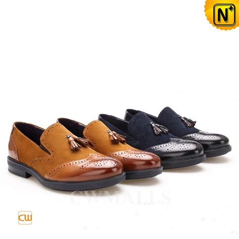 mens brogue loafers cwmalls 174 leather tassel brogue loafers cw716041