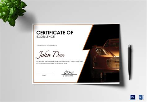 motosport templates motorsport excellence certificate design template in psd word