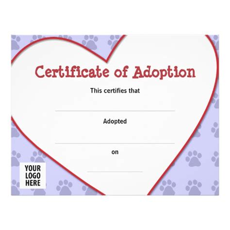 pet adoption certificate template certificate of pet adoption custom flyer zazzle