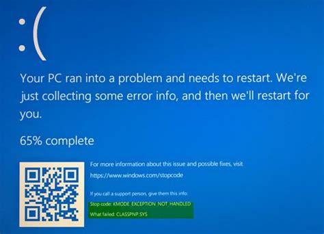 install windows 10 your pc ran into a problem fix kmode exception not handled error on windows 10