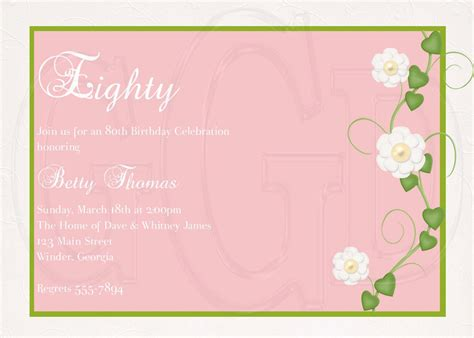 birthday invitation text templates 15 sle 80th birthday invitations templates ideas