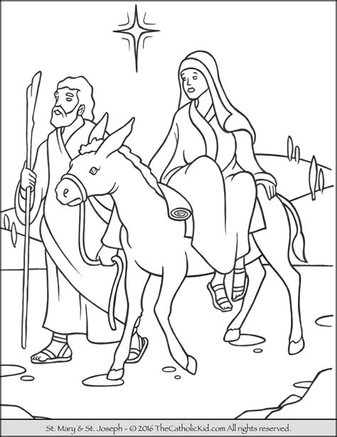 coloring pictures mary joseph advent christmas coloring page of joseph and mary on the