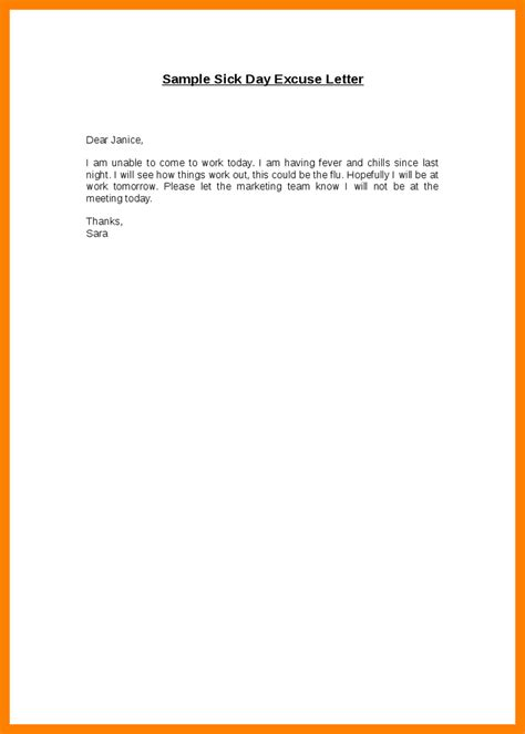 Sle Sickness Absence Excuse Letter 7 Excuse Letter Sle For Being Absent In School Fancy