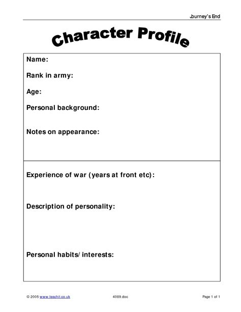character card template drama journey s end by r c sherriff ks4 plays key stage 4