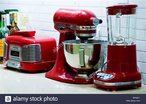 red kitchen appliances red retro kitchen appliances on a worktop by kitchenaid