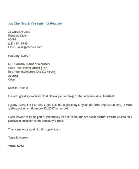 thank you letter for job offer accurate impression acceptance