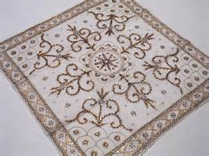 beaded tablecloth beautiful white beaded organza indian
