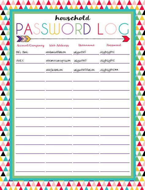 password list printable template printable password log sheet username and password