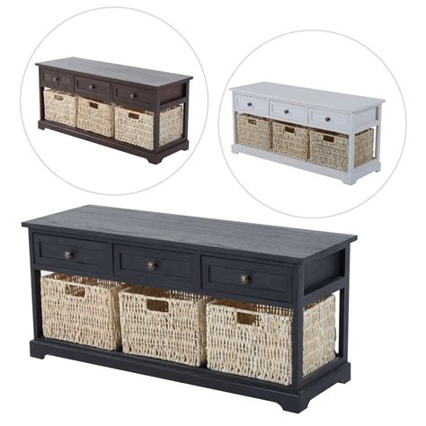 Wooden Storage Bench With Drawers by Entryway Wooden Storage Bench With 3 Drawers Baskets Home