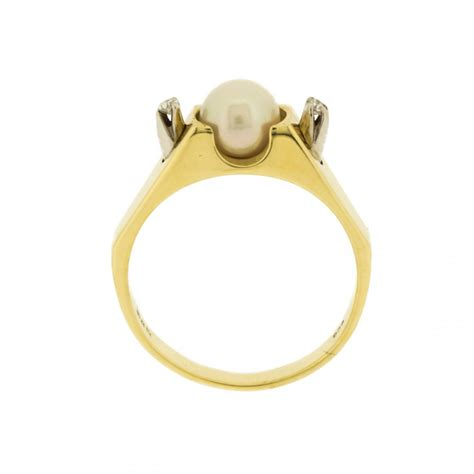 geometric pattern ring geometric ring with pearl and diamonds