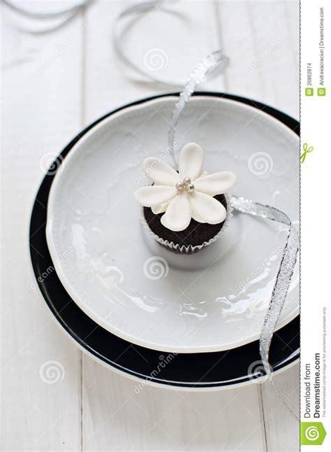 Wedding Cupcake With Fondant Flower Decoration Stock Photo