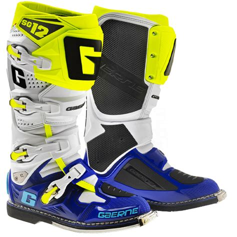 yellow motocross boots gaerne sg12 motocross boots limited edition blue white