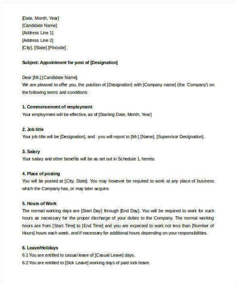 appointment letter format for hr manager 31 appointment letter templates free sle exle