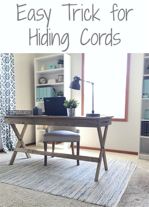 hide cords desk middle room easy solution to hide cords in the office lemons