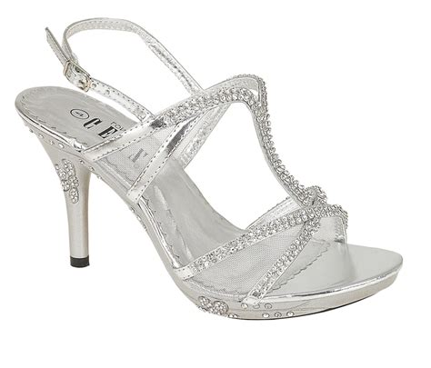 SILVER PARTY DIAMANTE EVENING WEDDING BRIDAL PROM SANDALS