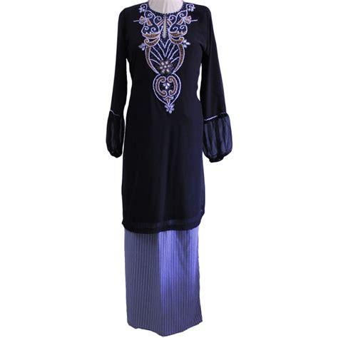 Baju Melayu Hitam Emas baju kurung chiffon warna hitam black sgd3657