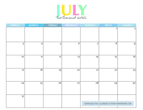 printable planner july 2016 free printable your lovely 2016 calendars