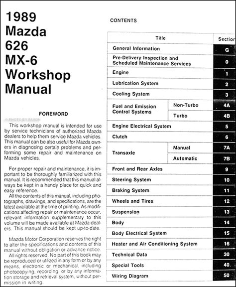 free online auto service manuals 1989 mazda 626 transmission control 1989 mazda 626 mx 6 repair shop manual original