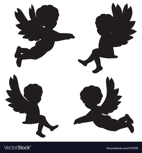 designing silhouettes of angels demo silhouettes of angels royalty free vector image