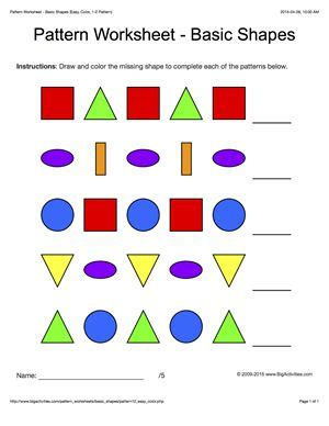 Patterns With Basic Shapes | worksheets for kids the missing and shape on pinterest