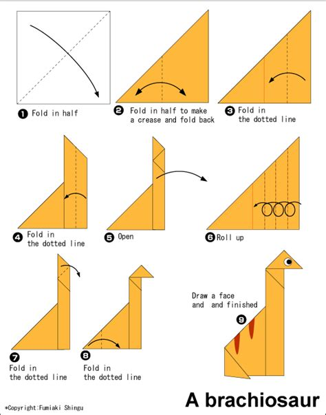 Simple Origami Dinosaur - easy origami brachiosaurus free origami patterns