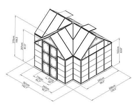 serre weight palram chalet 12x10 aluminum greenhouse kit hg5400