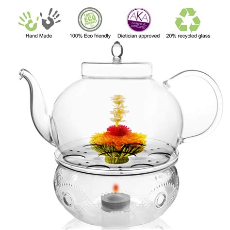 One Glass Polos tea set teapot polo 45 oz 1330 ml and tea warmer wave