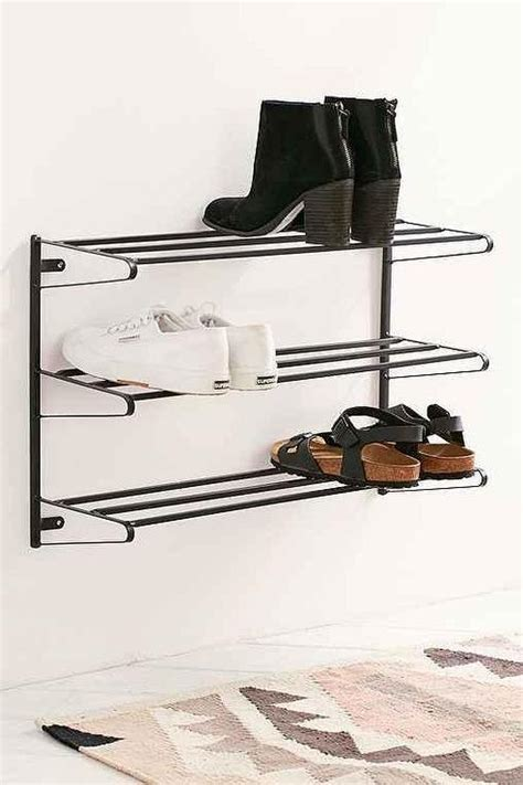 wall mounted shoe rack white and brass wall mounted shelves