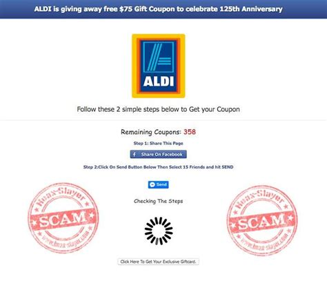 Facebook Free Gift Card Scams - get a free 75 aldi gift card facebook scam hoax slayer 2g