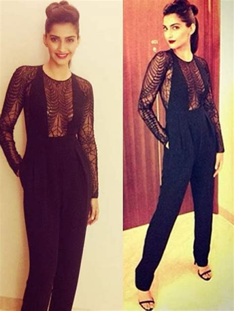 hairstyles to suit fla bollywood actress in jumpsuits
