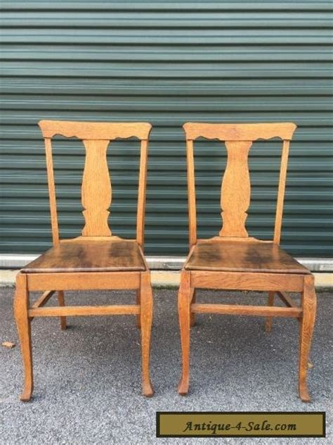 Antique Oak Dining Chairs For Sale Pair Antique Vintage Oak Wood Wooden Fiddleback Side Dining Accent Fabric Chairs For Sale In